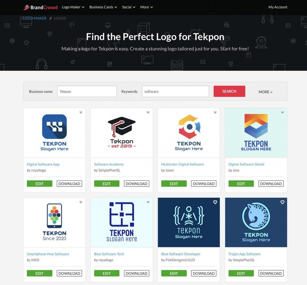 Premium logo maker BrandCrowd review Tekpon